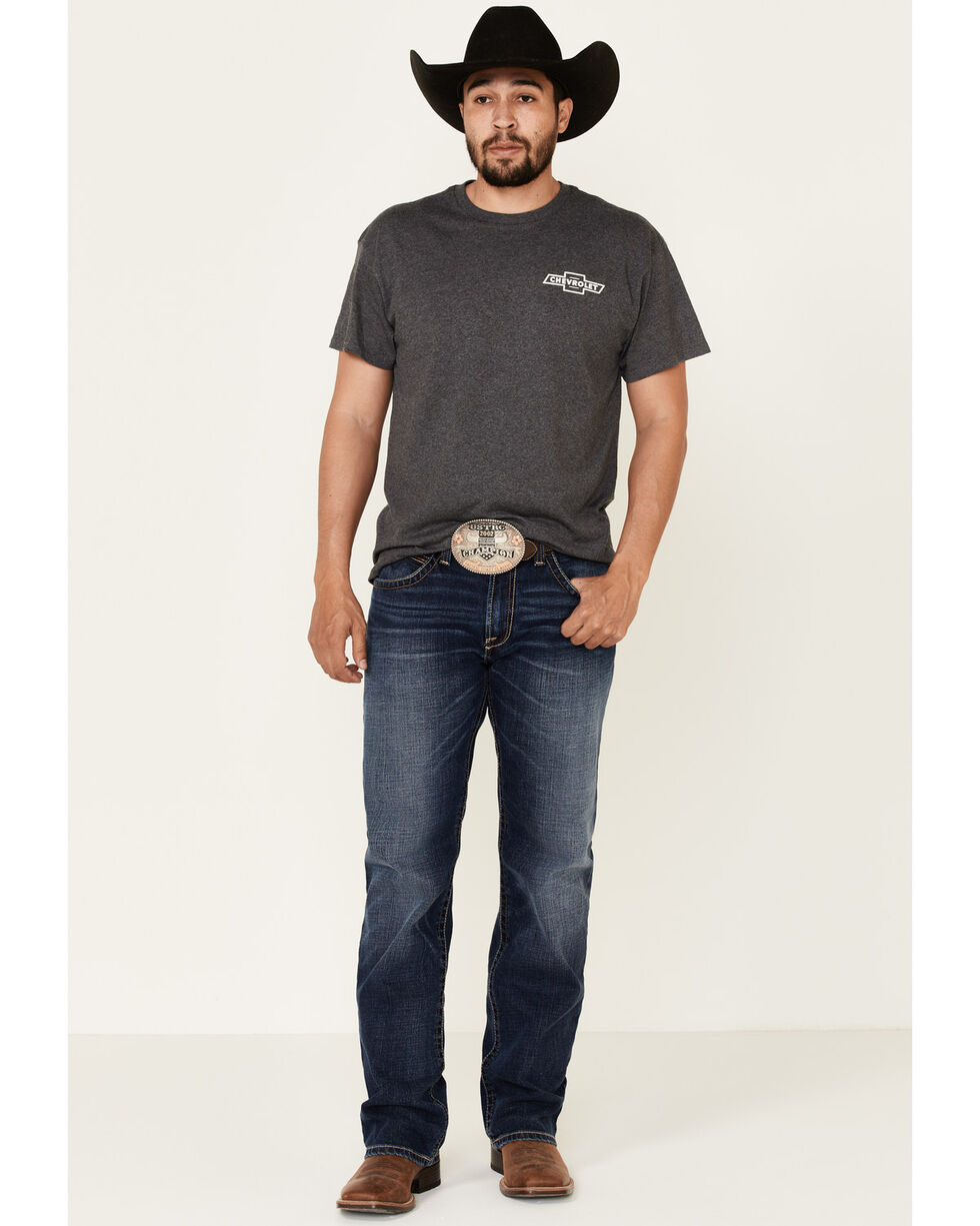 Buck Wear Men's Chevy Steer Skull T-Shirt , Charcoal, hi-res