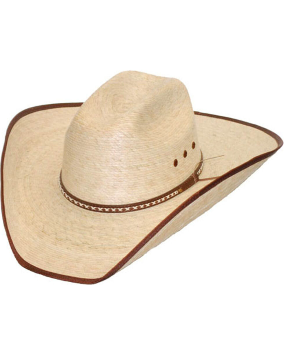Western Express Brown Trim Palm Leaf Western Hat, Beige/khaki, hi-res