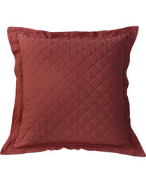 HiEnd Accents Diamond Pattern Quilted Red Euro Sham, , hi-res