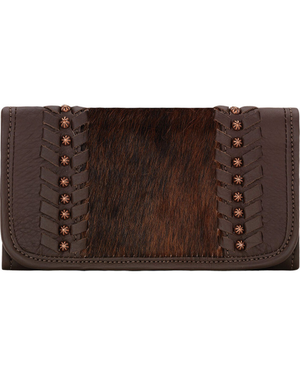 American West Women's Cow Town Tri-Fold Wallet, Chocolate, hi-res