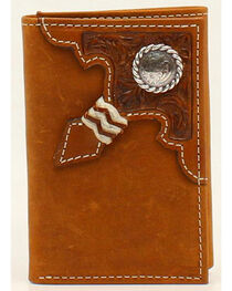 Ariat Embossed Tab Rawhide Knot Concho Tri-Fold Wallet, , hi-res
