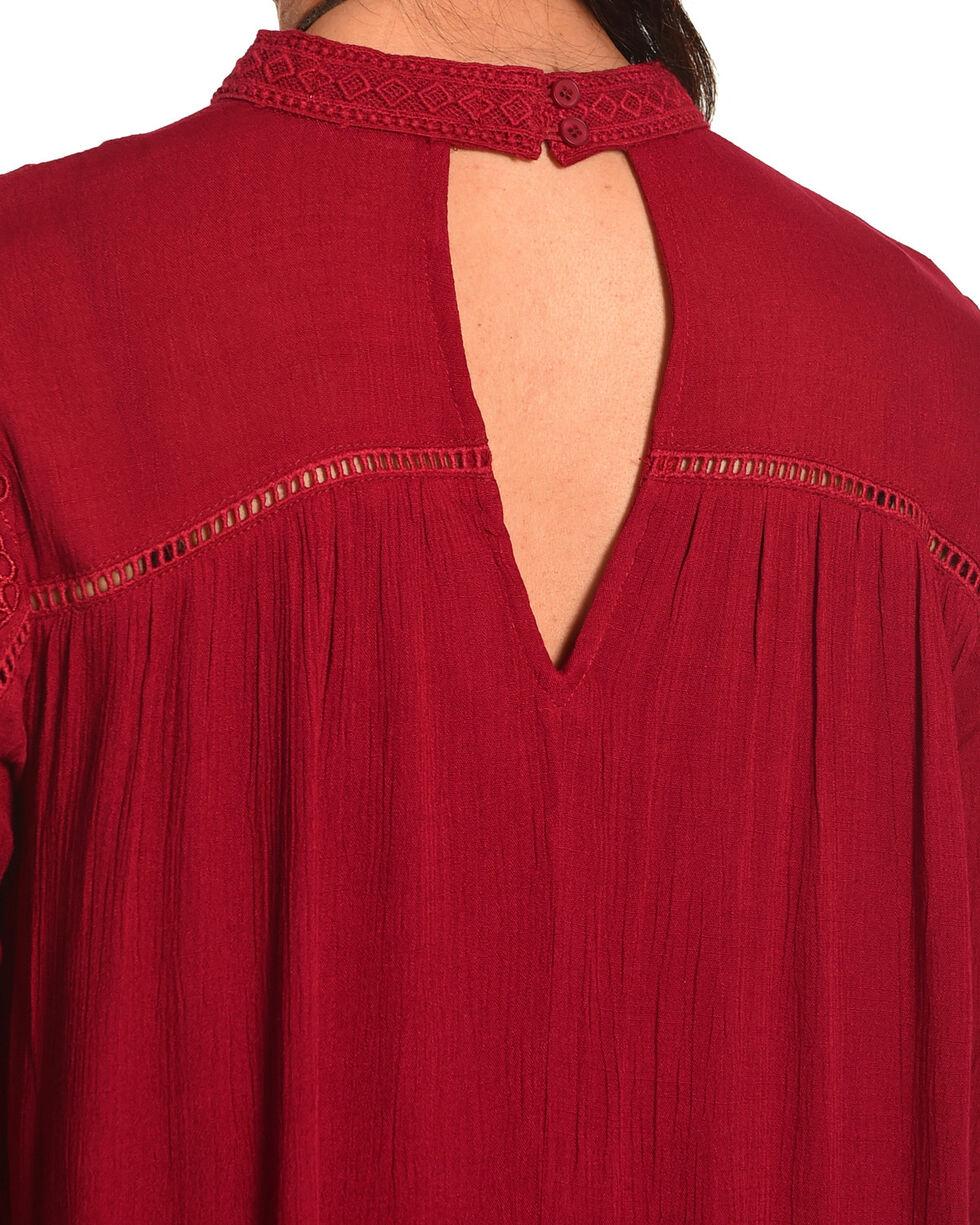 HYFVE Women's Burgundy Lace Keyhole Long Sleeve Dress, Burgundy, hi-res