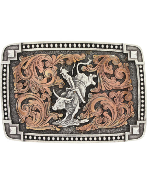 Montana Silversmiths Men's Bronze and Silver Bull Rider Belt Buckle , Silver, hi-res