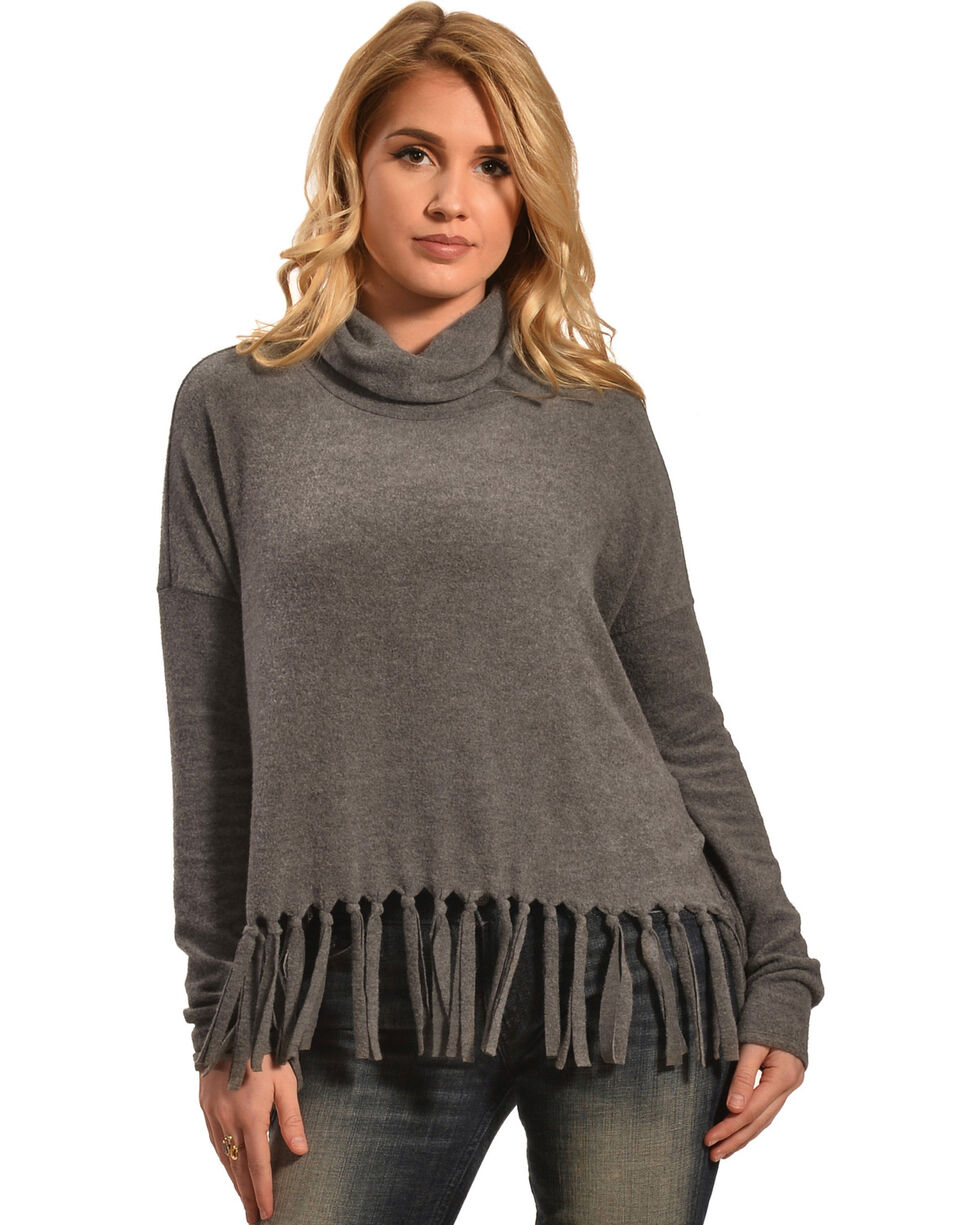 Derek Heart Women's Black Drop Shoulder Cowl Neck Fringe Sweater , , hi-res