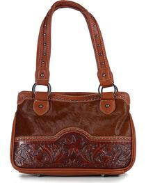 Trinity Ranch Women's Brown Floral Tooled Handbag , , hi-res
