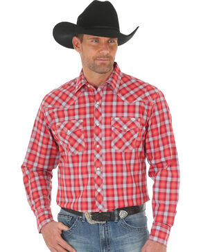 Wrangler Men's 20X Advanced Comfort Plaid Shirt - Big and Tall , Red, hi-res