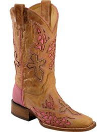 Corral Women's Square Toe Wing and Cross Inlay Western Boots, , hi-res