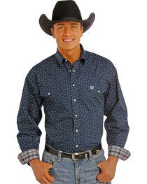 Panhandle Slim Men's Navy Print Snap Western Shirt , , hi-res
