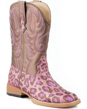 Roper Kid's Glitter Cheetah Western Boots, Pink, hi-res