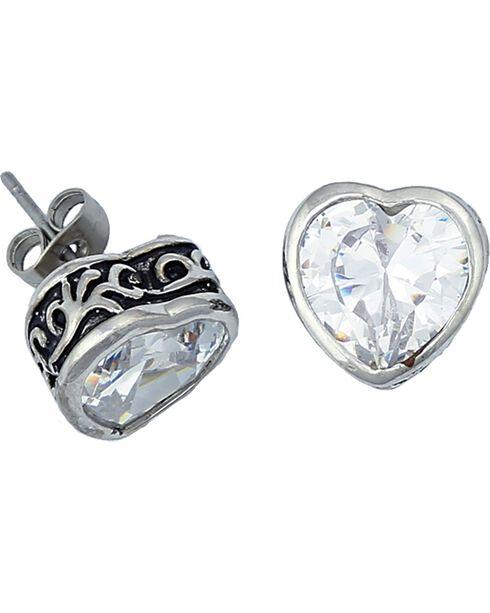 Montana Silversmiths Women's Crystal Heart Filigree Stud Earrings, Silver, hi-res