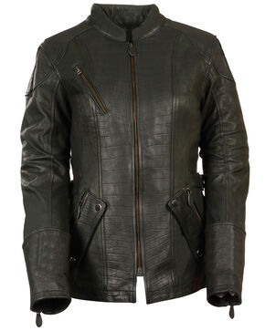 Milwaukee Leather Women's 3/4 Gator Print Motorcycle Jacket - 3X, Black, hi-res