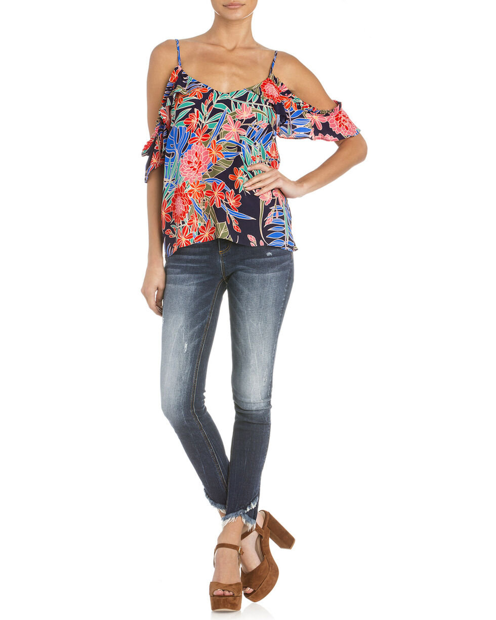 Miss Me Women's Floral Cold Shoulder Top, Navy, hi-res