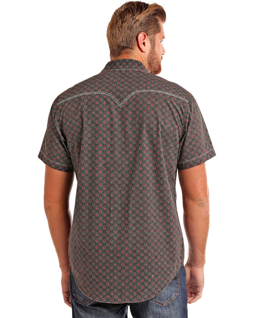 Rock & Roll Cowboy Men's Bleach Washed Print Short Sleeve Shirt, Black, hi-res