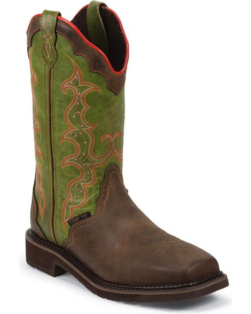 """Justin Women's 12"""" Composite Toe Western Work Boots, Brown, hi-res"""