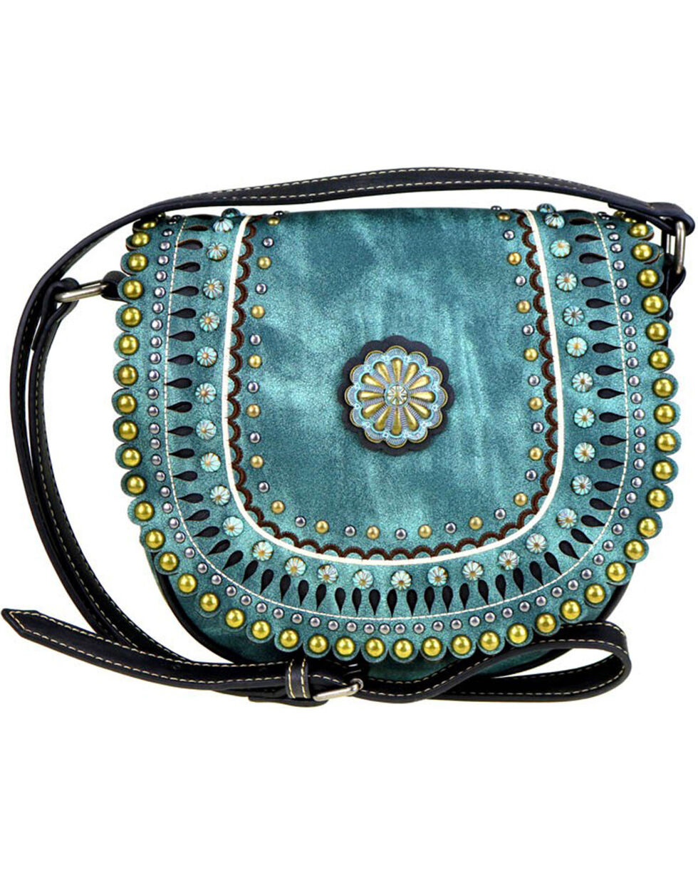 Montana West Women's Turquoise Concho Crossbody Bag , Black, hi-res