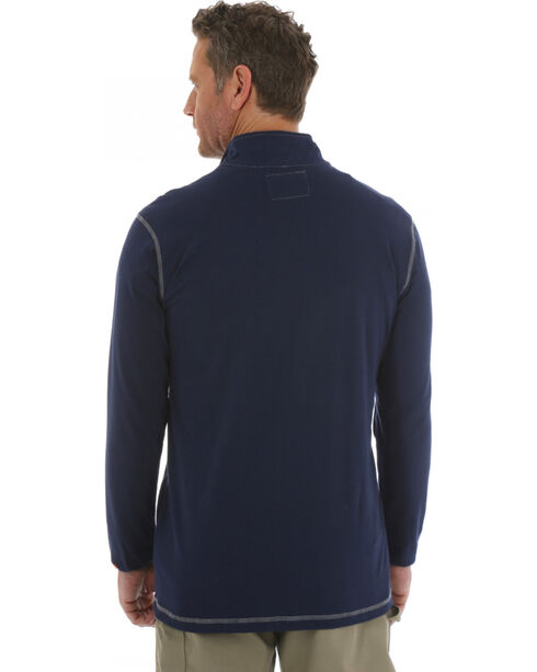 Wrangler 20X Flame Resistant Quarter-Zip Long Sleeve Pullover, Navy, hi-res