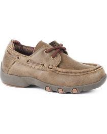 Roper Boys' Brown Vintage Leather Boat Shoes - Moc Toe, , hi-res