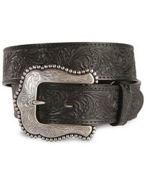 Tony Lama Floral Embossed Leather Belt, , hi-res