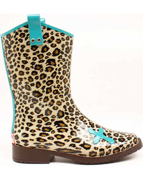 Blazin Roxx Piper Leopard Cross Rain Boots - Square Toe , Brown, hi-res