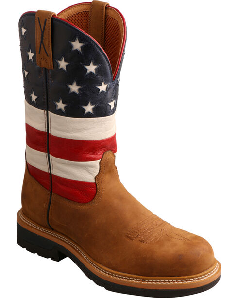 Twisted X Men's VFW American Flag Light Weight Work Boots, Distressed, hi-res