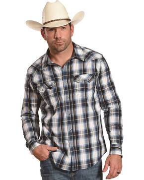 Cody James Men's Colton Black and Blue Plaid Shirt - Tall, White, hi-res