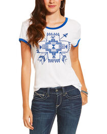 Ariat Women's White Short Sleeve Arrow Top, , hi-res