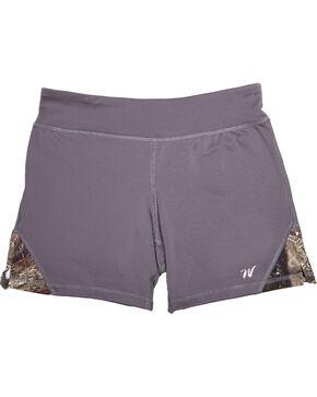 Wilderness Dreams Women's Mossy Oak Break-Up Country Gunmetal Gray Active Shorts, Gunmetal, hi-res