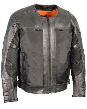 Milwaukee Leather Men's Black Leather & Mesh Racer Jacket with Removable Rain Jacket Liner - 3X, Black, hi-res