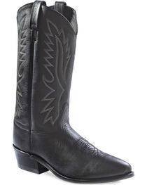 Old West Men's Black Polanil Western Cowboy Boots - Medium Toe, Black, hi-res