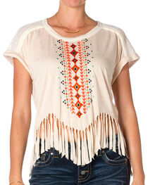 Miss Me Women's Aztec & Fringe Tee, Taupe, hi-res