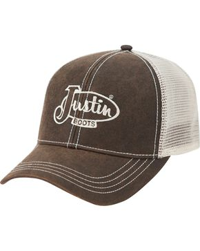 Justin Men's Embroidered Trucker Hat, Brown, hi-res