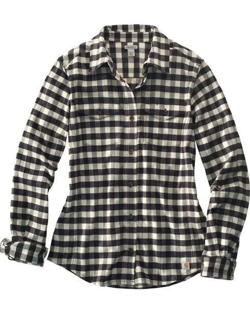 Carhartt Women's Plaid Button Down Flannel, Black, hi-res