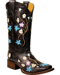 Corral Girls' Multi-Color Embroidery Cowgirl Boots - Square Toe, , hi-res