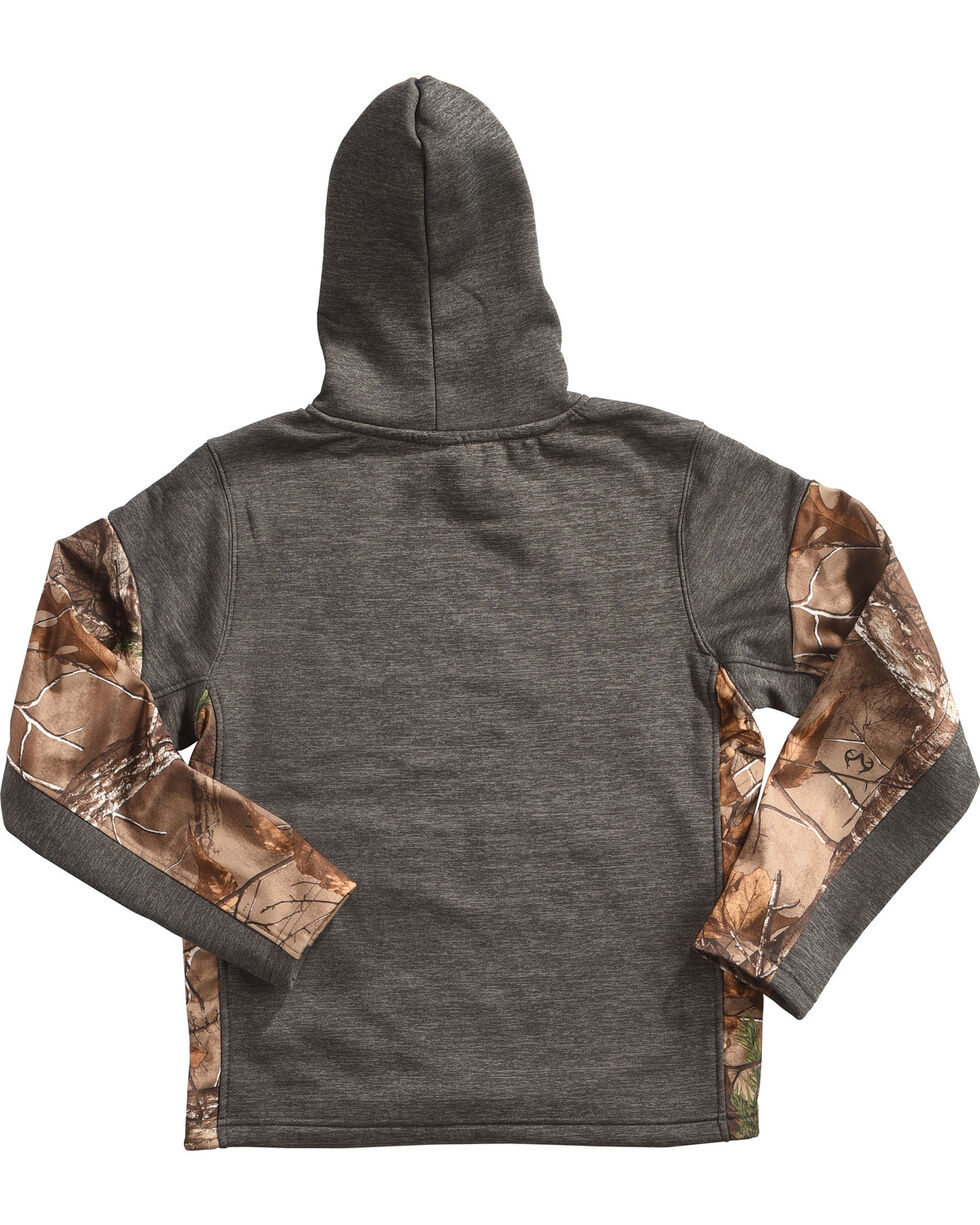 Realtree Boys' Camo Sleeves Hoodie, Charcoal, hi-res
