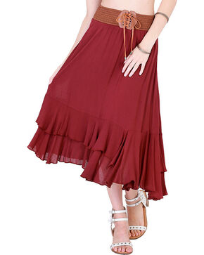 HYFVE Women's Tie Front Midi Skirt, Wine, hi-res