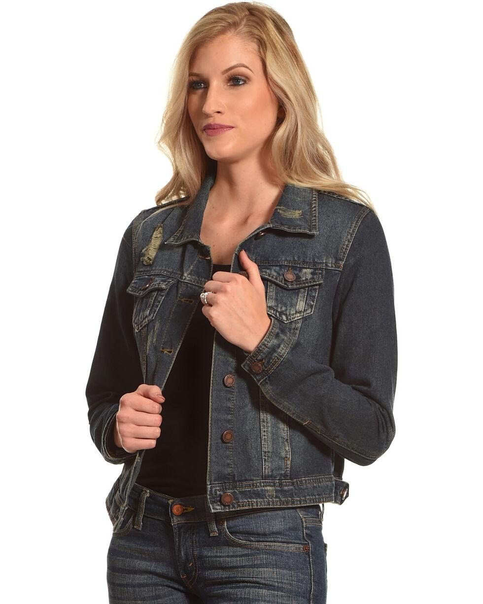 Boom Boom Jeans Women's Distressed Denim Jacket, , hi-res