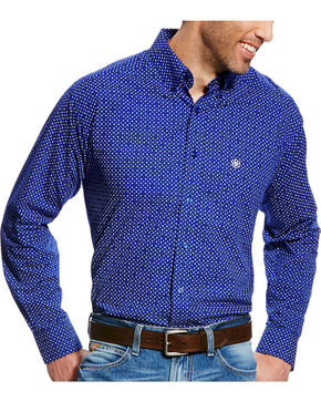 Ariat Men's Blue Doyle Print Western Shirt , Blue, hi-res