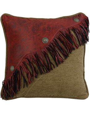HiEnd Accents San Angelo Faux Leather & Fringe Pillow, Multi, hi-res