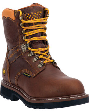 "Dan Post Men's Scorpion 8"" Alloy Waterproof Lace Up Work Boots, Brown, hi-res"