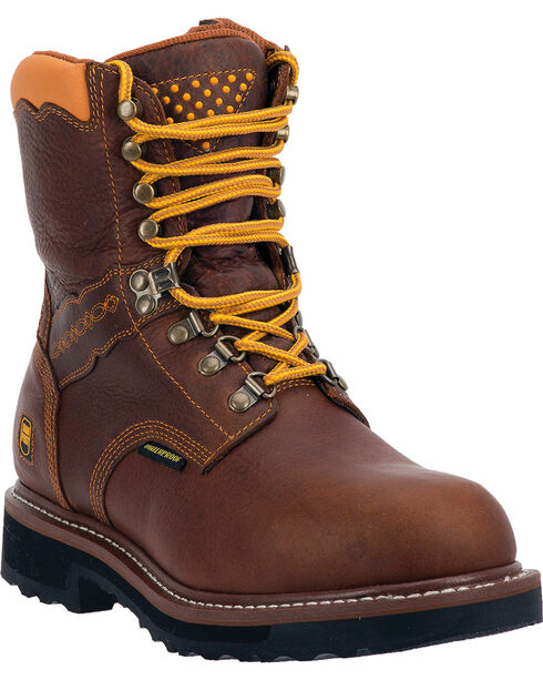 "Dan Post Men's Scorpion 8"" Alloy Waterproof Lace Up Work Boots, Brown, hi-res"