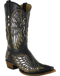 Corral Men's Snip Toe Wing and Cross Western Boots, Black, hi-res