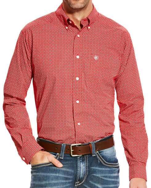 Ariat Men's Batson Fitted Poplin Print Button Down Shirt, Orange, hi-res
