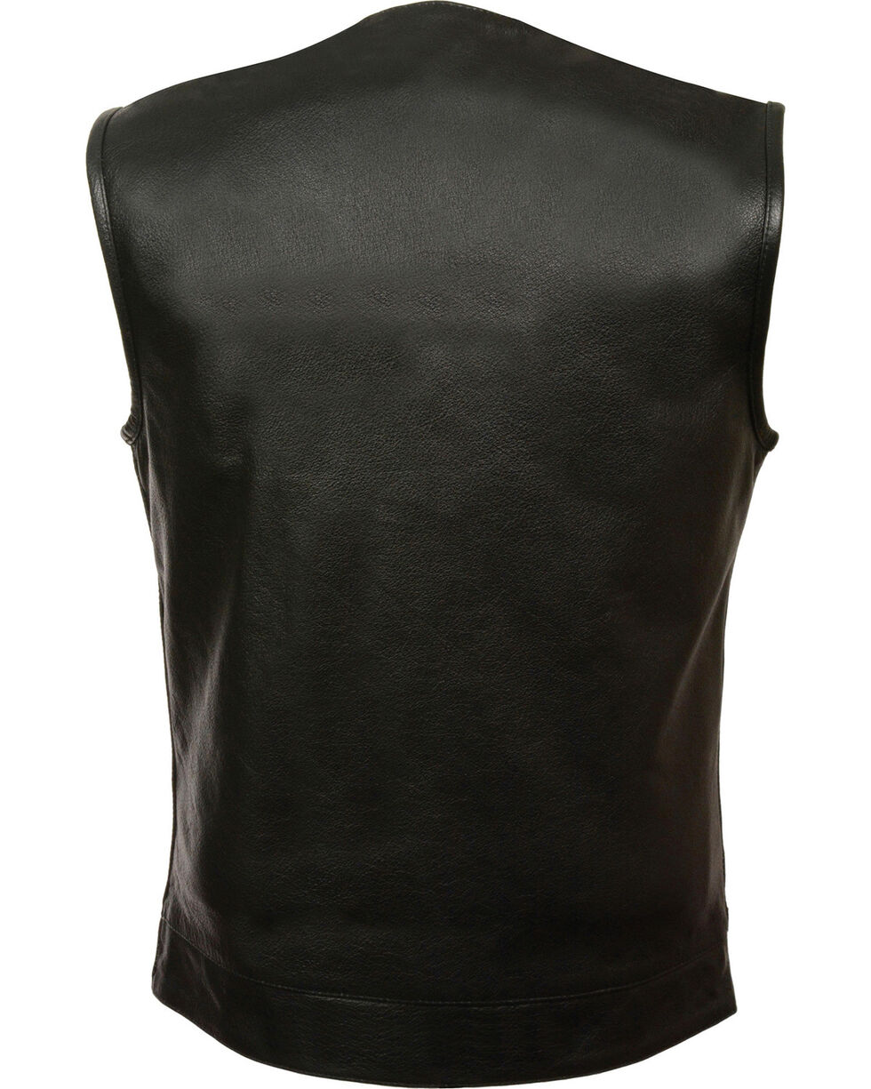 Milwaukee Leather Men's Black Collarless Zip Front Club Style Vest , Black, hi-res