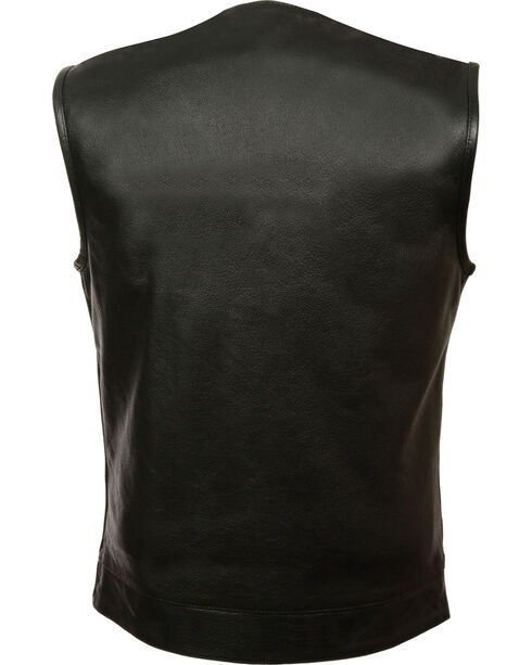 Milwaukee Leather Men's Black Collarless Zip Front Club Vest - Big 4X, Black, hi-res
