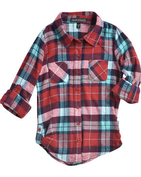 Derek Heart Girls' Flannel Plaid Tab Sleeve Tunic, Wine, hi-res