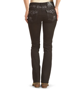 Grace in LA Women's Black Floral Pocket Jeans - Boot Cut , Black, hi-res