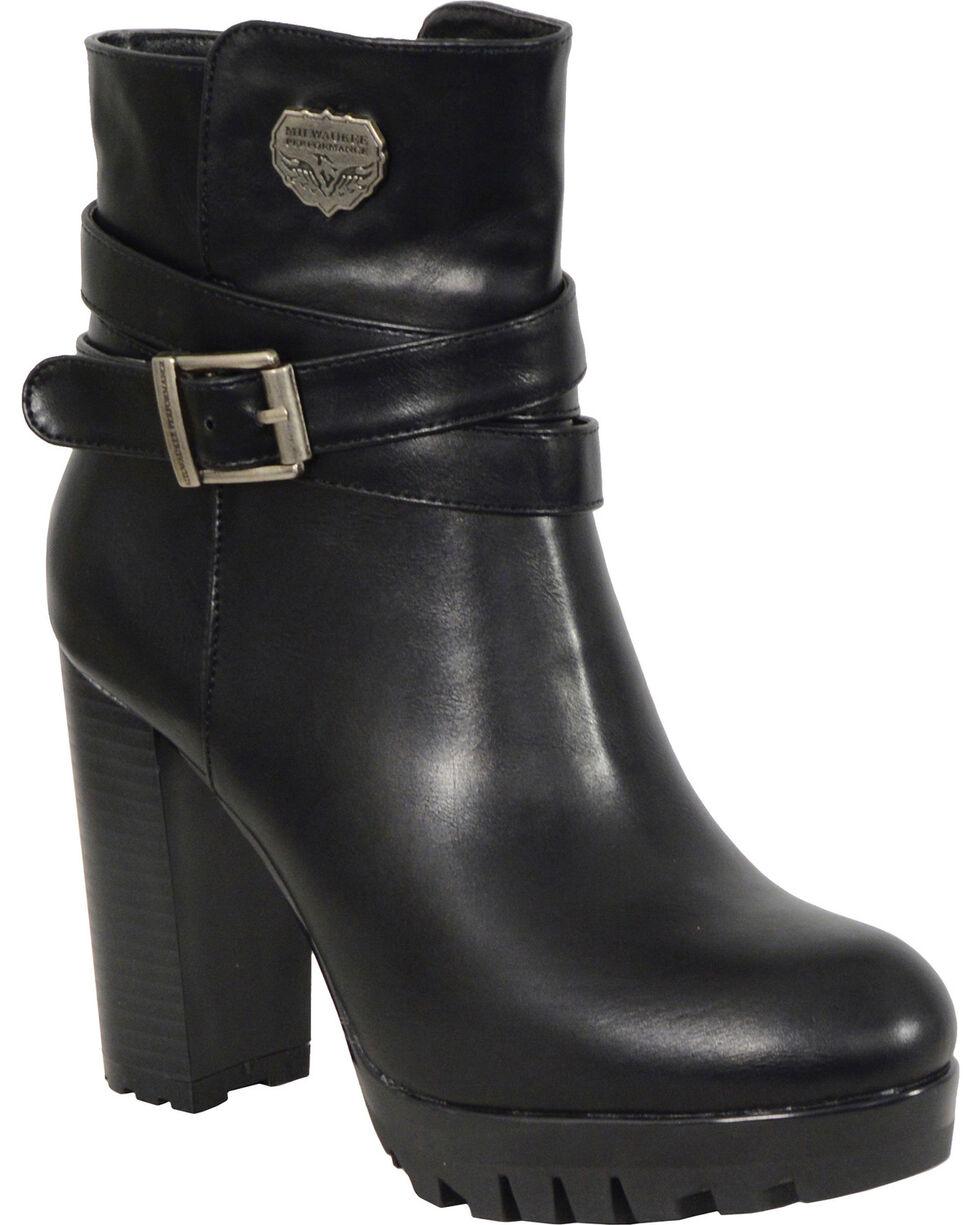 Milwaukee Leather Women's Black Double Strap Platform Heel Boots - Round Toe , Black, hi-res