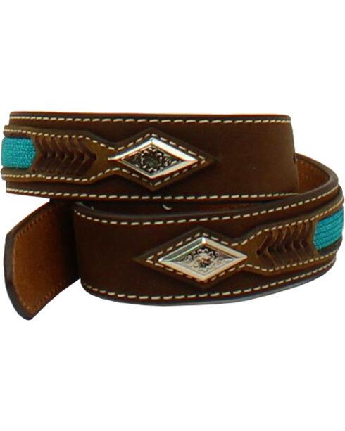 Nocona Boys' Aztec Embroidered Leather Belt, Brown, hi-res
