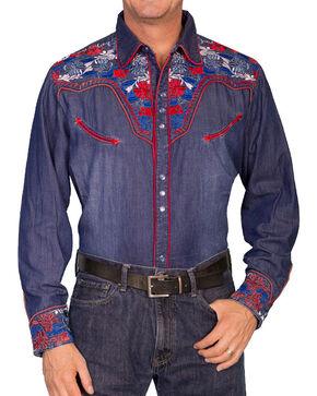 Scully Men's Retro Gunfighter Western Shirt, Indigo, hi-res