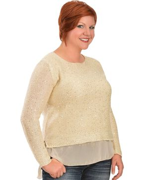 Lawman Women's Chiffon Trim Sequined Sweater, Ivory, hi-res